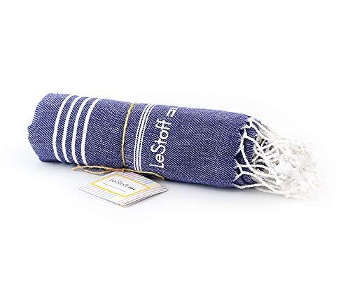 LeStoff das traditionelle Hamamtuch Strandtuch Badetuch Saunatuch Duschtuch Spa Sport Yoga Reisen 100% Bio-Baumwolle. Nachhaltig, natürlich, weich und vorgewaschen (100 x 180 cm, Navy)