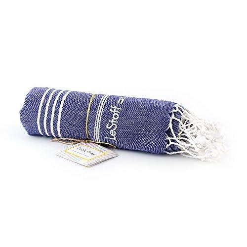 LeStoff Telo Mare Fouta Telo da Bagno XXL 100% Cotone di Alta qualità Asciugamano Turco Hammam Super Assorbenza Asciugatura Rapida Ecologico 100 x 180 cm Navy