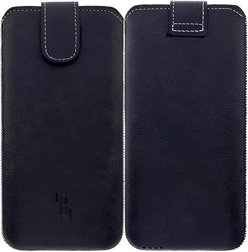 Burkley Handyhülle für Samsung Galaxy S10+ Hülle kompatibel mit Galaxy S10 Plus Handy-Tasche Echtleder Sleeve mit Rückzug-Funktion (Antik Anthrazit)