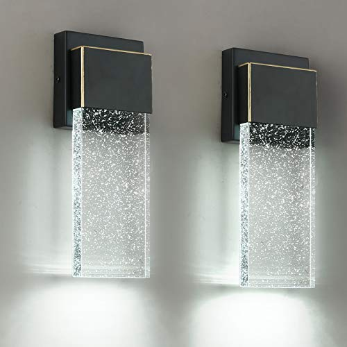 Outdoor Wall Sconce 2 Pack,Wall Light Fixture with Bubble Glass for Doorway Garden Hallway Patio...