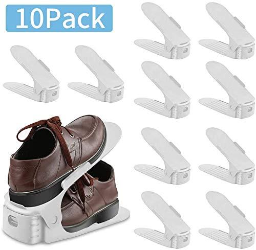 wolketon 10 Stück Einstellbare Schuhregale, Kunststoff Schuhrganizer, Verstellbarer Schuhstapler, Platzsparend, rutschfest, Einstellbare Organizer PP Schuhregal, Doppelschicht Schuhregal,weiß