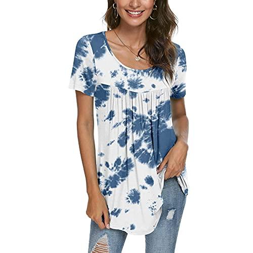 XOXSION Camiseta de verano para mujer, plisada, con volantes y estampado de rosas, cuello redondo, camiseta de manga corta A azul. L
