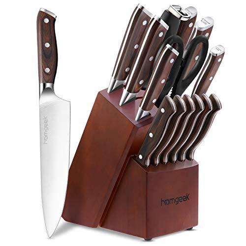 homgeek Messerset mit Messerblock, 15-teiliges Küchenmesser Set mit Spitzer und Haushaltsschere, Aus deutschem 1.4116 Edelstahl, Hochwertig und Extra Scharf