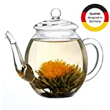 Théière Creano en verre avec couvercle pour 500ml de thé de fleurs de thé, roses...