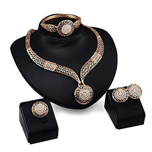 Weihnachtsschmuck-Set, Vintage-Stil, hohl, runder Anhänger, Halskette, Armband, Ring, Ohrringe, Party-Schmuck-Set