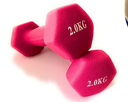 Juego de Dos Mancuernas de Neopreno Gimnasio y Entrenamiento en Casa Fitness Pilates Musculación Gym Aire Libre Pesas Hexagonales Mate 2 / 3 / 4 / 5 / 6 y 8 Kg(2x2 Rosa)