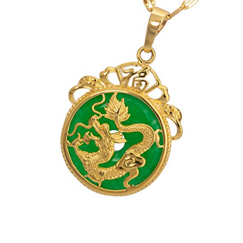 MCSAYS Dragon Necklace Gold Chinese Tibet Grade A+ Green Agate Dragon Pendant Necklace Gift For Christmas Women