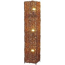 CJDM Lampadaire Asie du sud-est Brun foncé carré rotin Tissage Lampe sur Pied 1.1 M avec Interrupteur au Pied pour Bar…