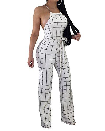 LaoZanA Mujer Mono De Fiesta Pantalones A Cuadros Elegantes Jumpsuit Pantalon Palazzo...