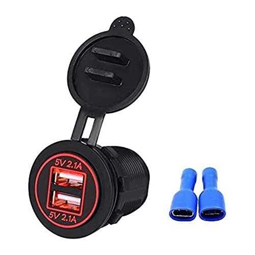 Petrichori Enchufe De Carga USB Dual Impermeable De 12V 4.2A con Luz Led Roja para El Cargador Móvil De La Motocicleta del Barco del Coche - Rojo