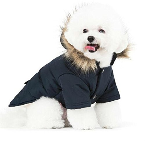 PetBoBo Cat Dog Doggie Down Jacket Hoodie Coat Pet Clothes Warm Clothing for Small Dogs Winter Black...