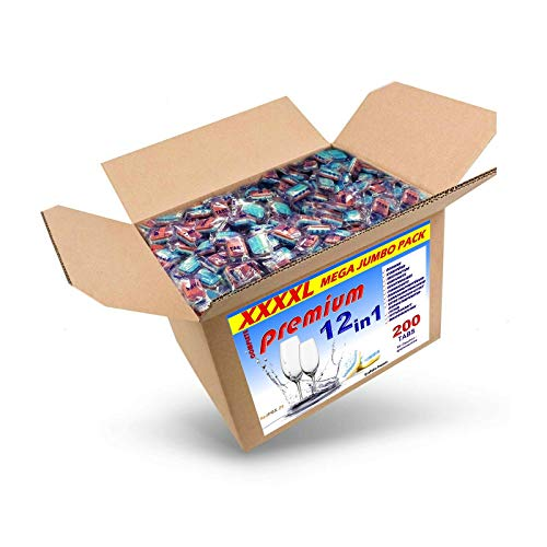 4 Kg (ca. 200) Spülmaschinentabs 12 in 1 in normaler Folie, BRUCHWARE, Qualitätsware für jede Spülmaschine geeignet, Geschirrspültabs, Spültabs
