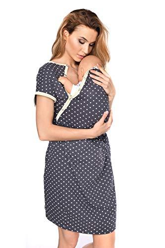 MijaCulture 3 in1 Geburtskleid Stillnachthemd Umstandsnachthemd Krankenhaus 4123 (XXL / EU44, Graphite/mit Herzen)