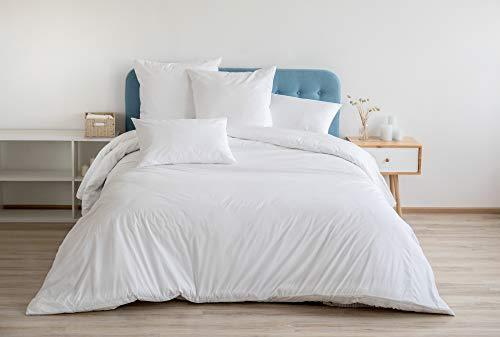 Sibiles - Juego Funda Nórdica 100% Algodón Blanca Hotel con Sábana Bajera y Fundas Almohada (Cama 90)