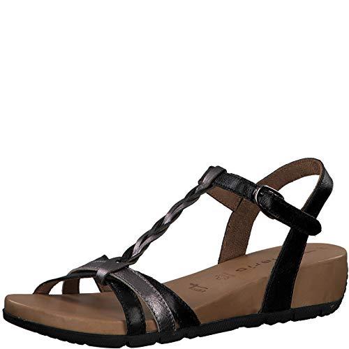 Tamaris Damen Sandalen 28251-24, Frauen Riemchensandale, Freizeit römer-Sandale Sandalette Gladiatoren-Sandale Lady,Black/Pewter,38 EU / 5 UK
