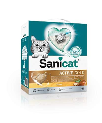 Sanicat Active Gold, Arena Ultra Aglomerante para Gatos con Oxygen, Aroma Argán - 6 L ✅