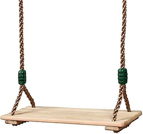 Columpio de madera colgando de madera columpios de árboles asiento cable ajustable 150 kg de capacidad de abedul madera duradera robusta columpios para niños para niños niños jardín jardín patio de cu