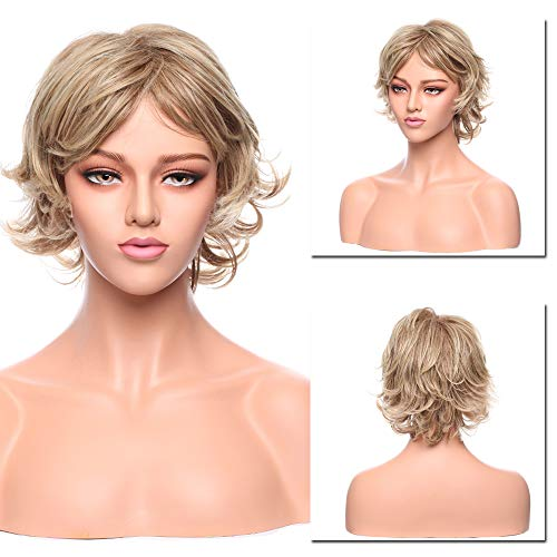 Hairro 12 Inch Short Curly Synthetic Wigs with Bangs for Women Pixie Fluffy Cosplay Anime Wig Middle Part Highlighted Natural Blonde Bleach Blonde Mix