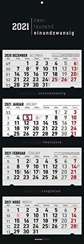 4-Monatskalender Black 2021 - Büro-Kalender 34,5x100 (geöffnet) - faltbar - mit Datumsschieber - Alpha Edition