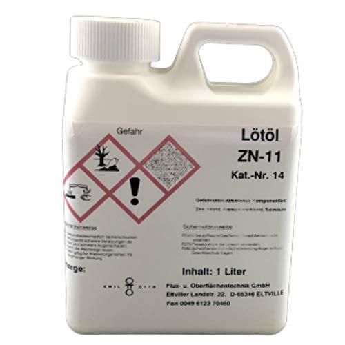 Flussmittel/Lötöl/Lötwasser ZN-11 1.000 ml, wässrig, gebrauchsfertig, speziell zum löten von Zink, Titanzink u. verzinkten Blechen
