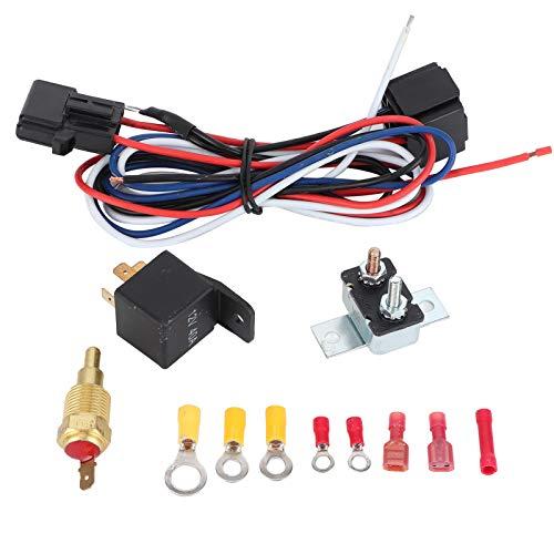 Shipenophy Interruptor de Temperatura Termostato Accesorio de Montaje de automóvil Radiador Ventilador de enfriamiento Kit de relé Plástico Profesional para su vehículo para Accesorios de automóvil