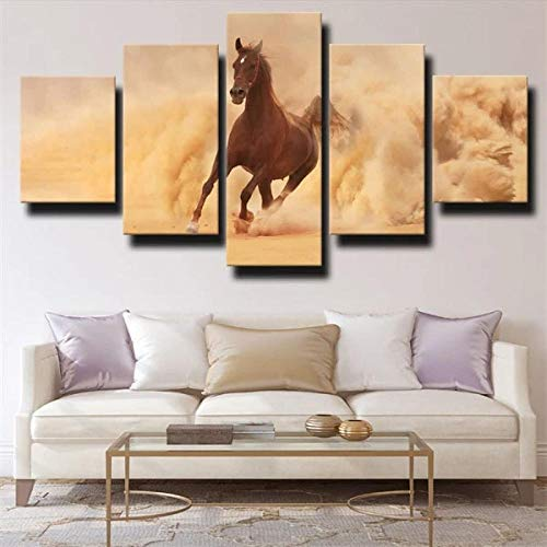 IIIUHU 5 Piezas Cuadro sobre Lienzo De Fotos Caballo marrón Runing Dust Earthy Yellow Lienzo Impresión Cuadros Decoracion Salon Grandes Cuadros para Dormitorios Modernos Mural Pared Listo para