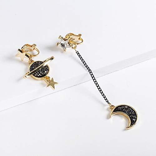Clip on Earrings 2019 New Korean Japan Creative Cute Universe Planet Moon Star No Pierced Asymmetirc Design Ear Clips for Women