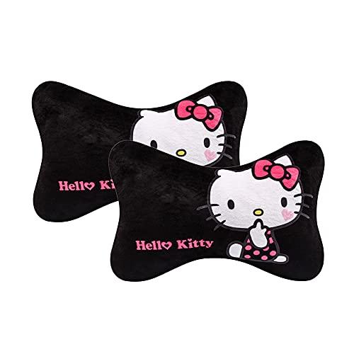 2 Pcs Hello Kitty Car Neck Pillow Cartoon Cute Styling Auto Car Headrest Pillow Cartoon Ergonomic Support Cushion Design Travel Rest Pillow Cushion Pad (Black 2)