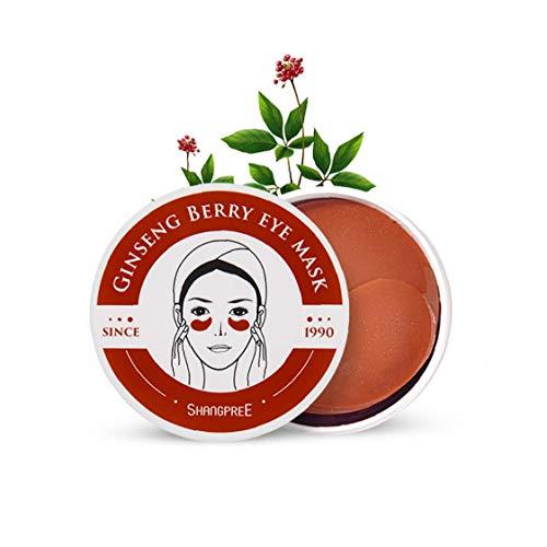 60sheet Ginseng Berry Under Eye Patches Collagen Eye Face Cover Anti-Aging Anti Wrinkle Eye Gel Face Cover Sleep Face Cover for Dark Circles Under Eye Bags Treatment