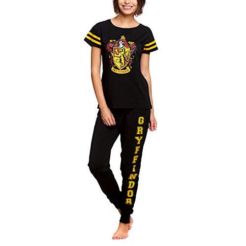 Elbenwald Harry Potter Pyjama Gryffindor Häuserwappen Frontprint und Schriftzug auf Hose 2teilig für Damen Baumwolle schwarz - M