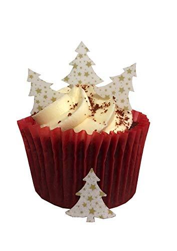 Lot de 50 décorations de gâteaux en papier comestible - Prédécoupées - Motif : Sapin de Noël - Petites étoiles dorées - Idéales pour les cupcakes de Noël ou comme décoration de table