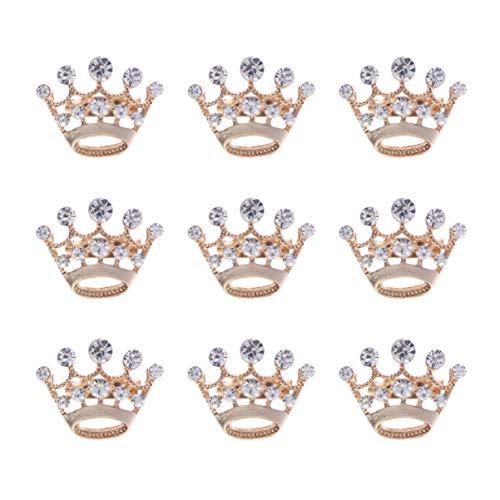 WINOMO 12 unidades de broche con forma de corona de brillantes brillantes, mini camisas de cristal doradas y plateadas con solapa para corpiño, para boda, regalo de San Valentín