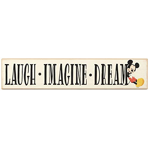 Open Road Brands Disney Mickey Mouse Laugh Imagine Dream Wood Wall Decor - Mickey Mouse Wall Art for Kids' Bedroom, Play Room or Movie Room
