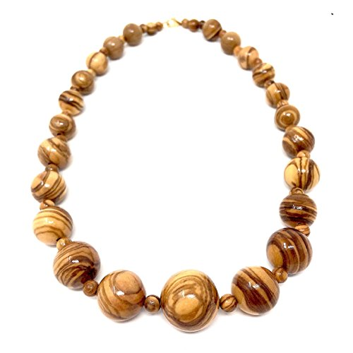 Halskette mit Perlen aus echten Olivenholz handgemacht auf Mallorca Holzschmuck Schmuck aus Handarbeit Kette mit Perlen Perlenkette