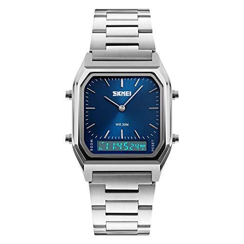FeiWen Multifunktional Uhren für Herren und Damen Analog Quarz LED Doppel Zeit Armbanduhren Digital Sport Fashion Casual Armbanduhren Alarm Stoppuhr Kalender Beleuchtung
