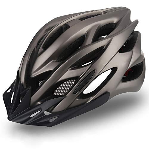 KINGLEAD Casco de bicicleta con luz LED recargable, unisex, protección para ciclismo, patinaje al aire libre, seguridad superligera, ajustable con certificado CE
