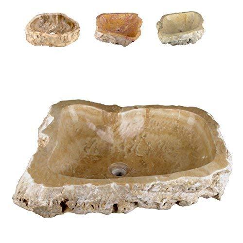 Divero Natur-Stein Waschschale Meran Aufsatz-Waschbecken Handwaschbecken Marmor Creme/Hellbraun Ø ca. 35 cm