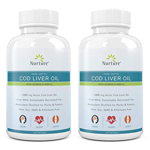 Pure Arctic Cod Liver Oil with Vitamin D 4000 IU (2-Pack) |...