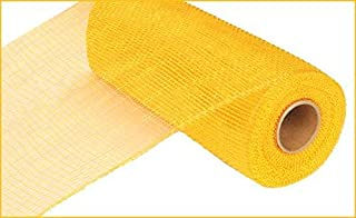 Two Tone Deco Poly Mesh Ribbon - 10 Inches x 10 Yards (Yellow, Gold)