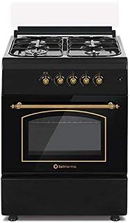 Cocina SolThermic F6S40G2I de Color Negro Rústico compuesta por 4 Quemadores y Horno Incorporado - ENTREGA A PIÉ DE CALLE