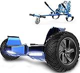 RCB hoverboards SUV Scooter Eléctrico Patinete Auto-Equilibrio Todo Terreno 8.5 ' Patinete Hummer Bluetooth + Hoverkart Asiento Kart para Overboard (Azul Cromado + Azul)