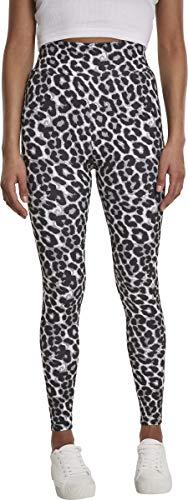 Urban Classics Damen Ladies AOP Yoga-Pants High Waist Sport Leggings, Mehrfarbig (Grey Leo 02064), W(Herstellergröße: L)