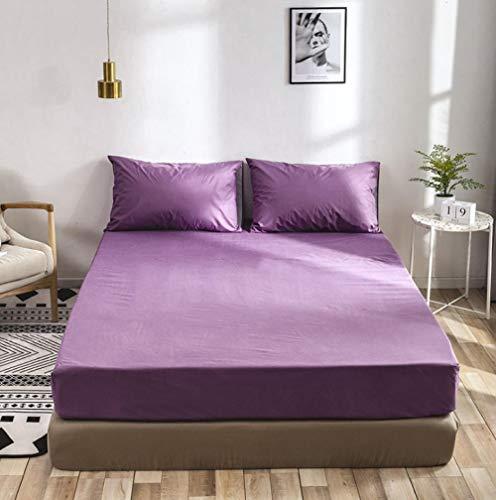 XLMHZP Sábana Bajera 100% algodón Sábanas de Hotel Funda de colchón Antideslizante Funda de Cama de Color sólido Colchas Opcionales Multicolores-Violeta_150×200+35cm (1pcs)