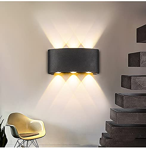 Asvert Wandleuchte Innen/aussen Wasserdicht,Wandlampe Modern,Wandlampe 6 LED Up und Down,Aluminium 120° Ausstrahlungswinkel Schwarz (Schwarz 12W Warmweiß)