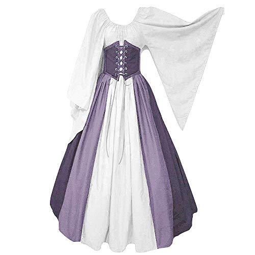 Abaowedding Women's Renaissance Medieval Costumes Dress Trumpet Sleeves Gothic Retro Gown Purple X-Large