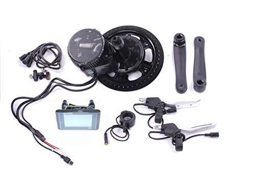 8FUN Bafang, BBS-01 250 Watt Mittelmotor Umbausatz zum Elektrofahrrad,Pedelec,E-Bike mit 2 Bremshebel,C961 LED Display,Sensor,Zahnrad und Pedalarmen