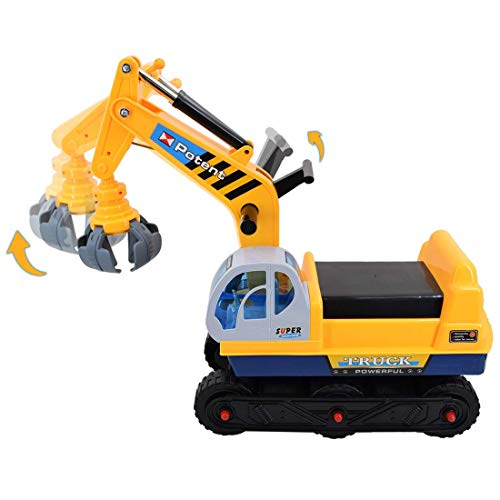 deAO Ride On Excavator Digger Construction Vehicles for Kids 2 in1 Pedal Vehicle Ride on Tractor Pretend Play Toddler Tractor Includes Helmet and Two Different Claws…