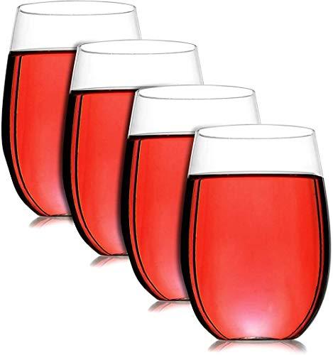 Copas de vino - Juego de 4 |Vasos parabeber de plástico reutilizablese inastillables|Gafas para acampar y fiestas sin tallo|Apto para lavavajillas |