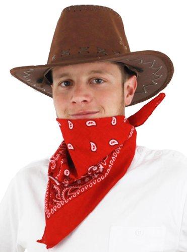 Conjunto de accesorios para disfraz de vaquero, color marrn, gorro de ante sinttico y bandana, color rojo