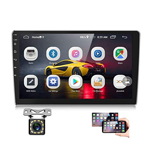 Podofo Android Car Stereo with GPS Bluetooth 10 inch Touchscreen Double Din Radio with Backup Camera Support Android/iOS Phone Mirror Link WiFi FM Dual USB